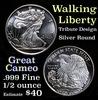 Walking Liberty Tribute Design Silver Round .999 Fine 1/2 oz. Grades Ungraded