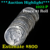 **Auction Highlight** Solid 1922-p Shotgun Roll of (20) Peace Dollars $1 Brilliant Uncirculated (fc)