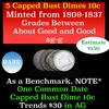 5 Capped Bust Dimes 10c Grades ag-g
