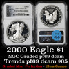 NGC 2000 Silver Eagle Dollar $1 Graded pr69 dcam by NGC
