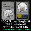 NGC 2006 Silver Eagle Dollar $1 Graded ms69 by NGC