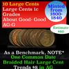 10 Large Cents 1c Grades ag-g