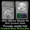 NGC 2011 Silver Eagle Dollar $1 Graded ms69 by NGC