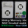 NGC 1944-p Mercury Dime 10c Graded ms64 by NGC