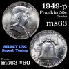1949-p Franklin Half Dollar 50c Grades Select Unc