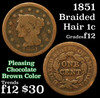 1851 Braided Hair Large Cent 1c Grades f, fine