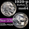 1929-p Buffalo Nickel 5c Grades Choice Unc