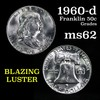 1960-d Franklin Half Dollar 50c Grades Select Unc