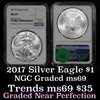 NGC 2017 Silver Eagle Dollar $1 Graded ms69 by NGC