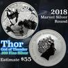 2018 Thor Marvel Silver Round .999 Fine Silver 1 oz. Grades ms69