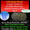 5 Coronet Head Large Cents 1c Grades ag-f