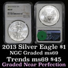 NGC 2013 Silver Eagle Dollar $1 Graded ms69 by NGC