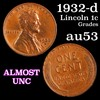 1932-d Lincoln Cent 1c Grades Select AU