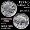 1927-p Buffalo Nickel 5c Grades GEM Unc (fc)