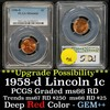 1958-d Lincoln Cent 1c Graded ms66 RD by PCGS
