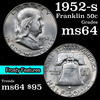 1952-s Franklin Half Dollar 50c Grades Choice Unc