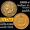 1908-s Indian Cent 1c Grades Choice AU
