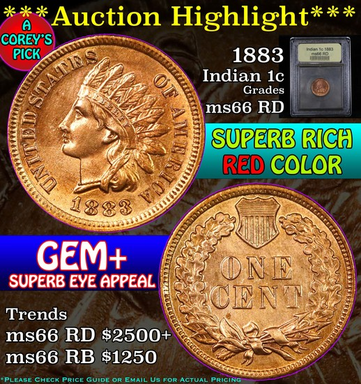 ***Auction Highlight*** 1883 Indian Cent 1c Graded GEM+ Unc RD by USCG (fc)