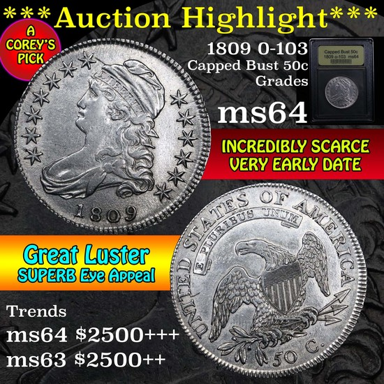 ***Auction Highlight*** 1809 o-103 Capped Bust Half Dollar 50c Graded Choice Unc by USCG (fc)