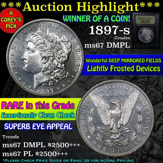 ***Auction Highlight*** 1897-s Morgan Dollar $1 Graded GEM++ DMPL by USCG (fc)