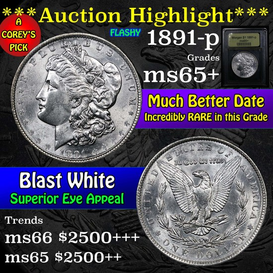 ***Auction Highlight*** 1891-p Morgan Dollar $1 Graded GEM+ Unc by USCG (fc)