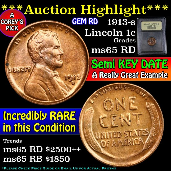 ***Auction Highlight*** 1913-s Lincoln Cent 1c Graded GEM Unc RD by USCG (fc)