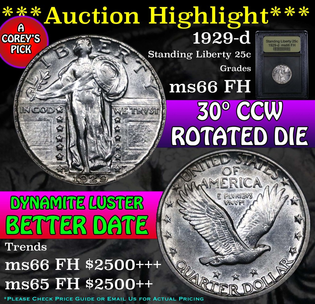 ***Auction Highlight*** 1929-d Standing Liberty Quarter 25c Graded GEM+ FH by USCG (fc)