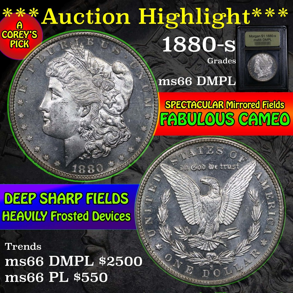 ***Auction Highlight*** 1880-s Morgan Dollar $1 Graded GEM+ UNC DMPL by USCG (fc)