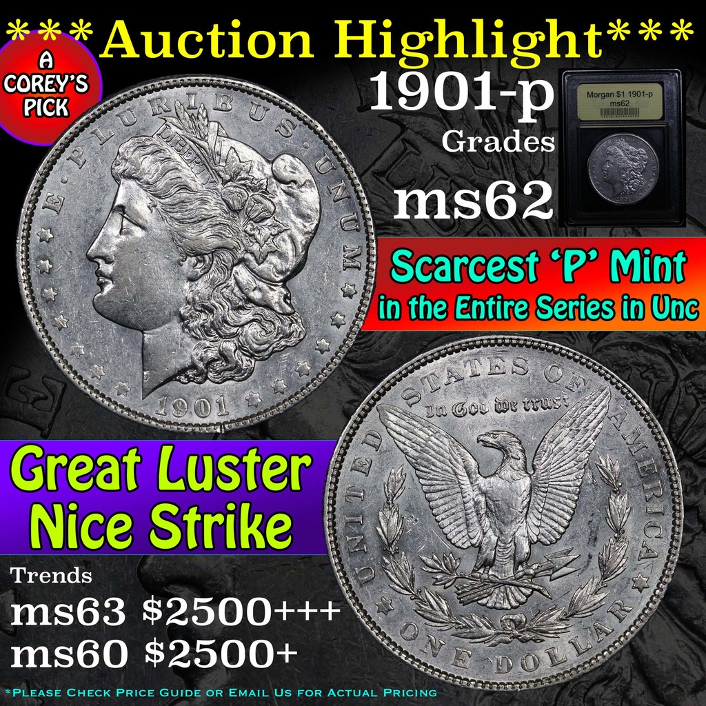 ***Auction Highlight*** 1901-p Morgan Dollar $1 Graded Select Unc by USCG (fc)