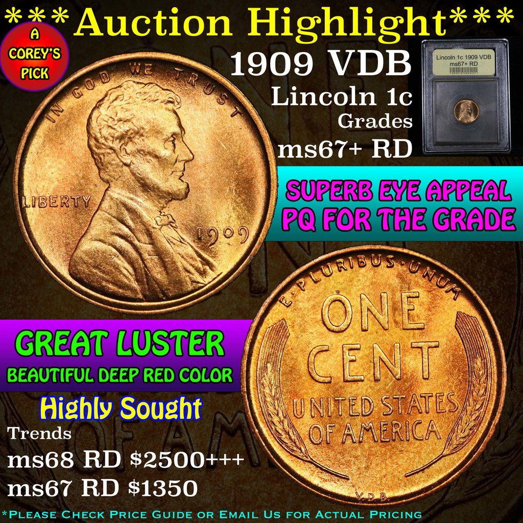 ***Auction Highlight*** 1909 VDB Lincoln Cent 1c Graded GEM++ RD by USCG (fc)