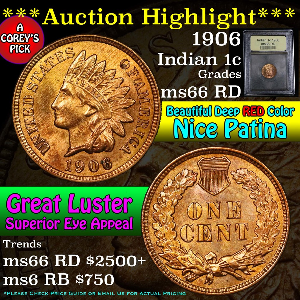 ***Auction Highlight*** 1906 Indian Cent 1c Graded GEM+ Unc RD by USCG (fc)