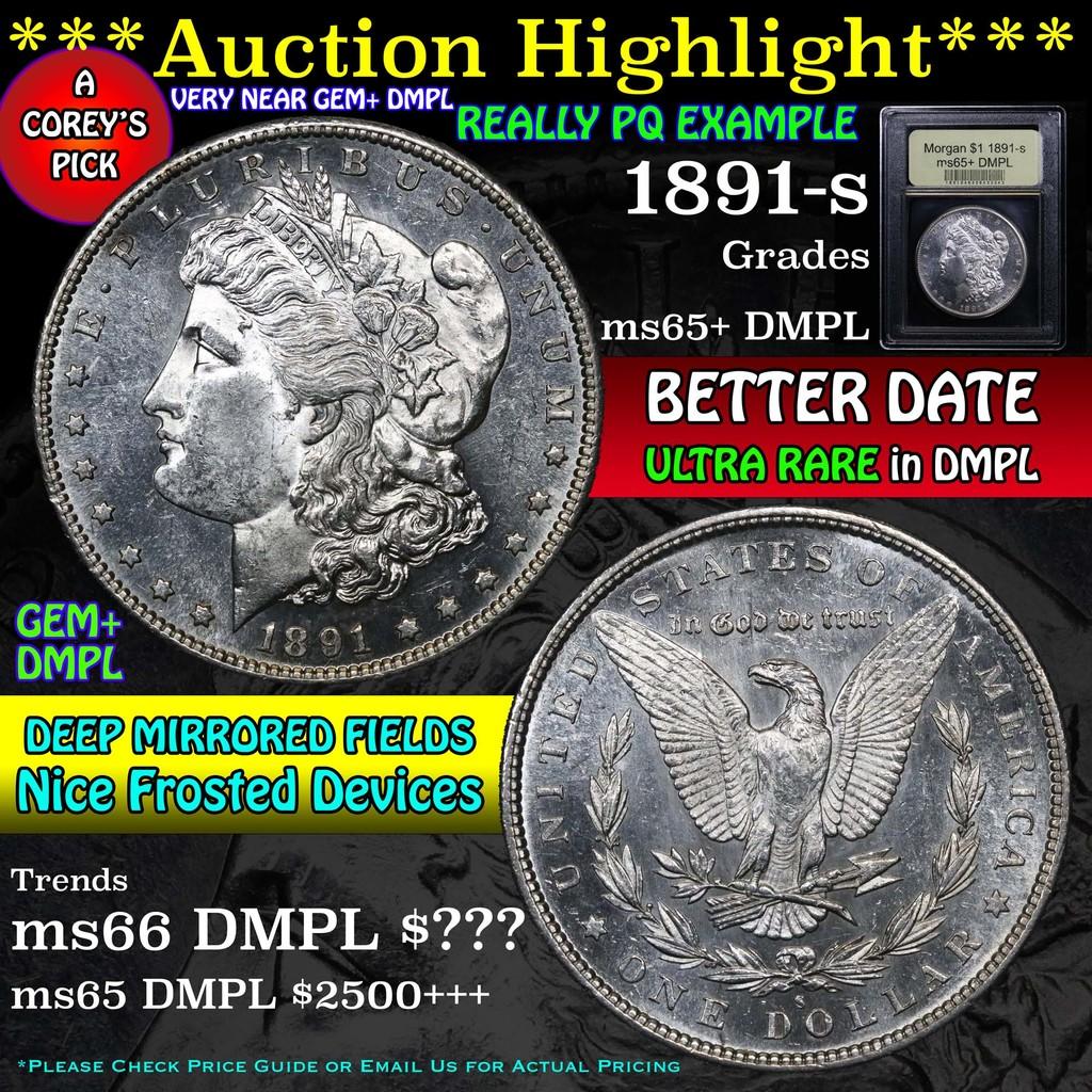 ***Auction Highlight*** 1891-s Morgan Dollar $1 Graded GEM+ DMPL by USCG (fc)