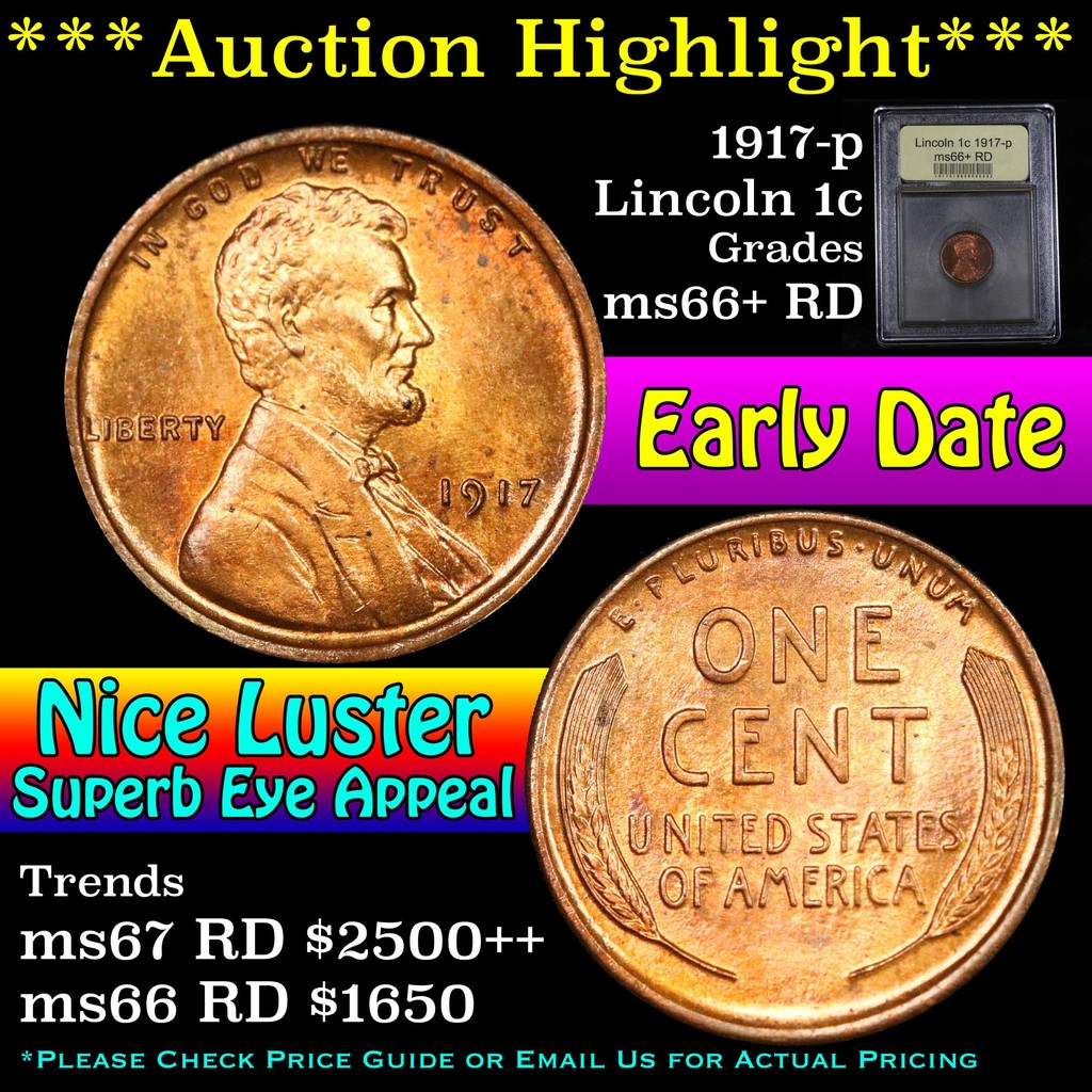 ***Auction Highlight*** 1917-p Lincoln Cent 1c Graded GEM++ RD by USCG (fc)