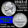 1943-d Silver War Nickel Jefferson Nickel 5c Grades Choice Unc 5fs