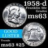 1958-d Franklin Half Dollar 50c Grades Select Unc