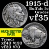 1915-d Buffalo Nickel 5c Grades vf++