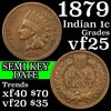 1879 Indian Cent 1c Grades vf+