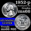 1952-p Washington Quarter 25c Grades GEM+ Unc