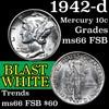 1942-d Mercury Dime 10c Grades GEM+ FSB