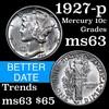 1927-p Mercury Dime 10c Grades Select Unc