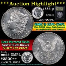 1886-p Morgan Dollar $1 Graded GEM+ UNC DMPL by US