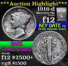 1916-d Mercury Dime 10c Graded f, fine by USCG