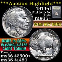 1914-d Buffalo Nickel 5c Graded GEM+ Unc by USCG
