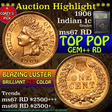1906 Indian Cent 1c Graded GEM++ Unc RD by USCG