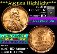 1918-p Lincoln Cent 1c Graded GEM++ RD by USCG