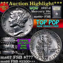 1927-d Mercury Dime 10c Graded GEM++ FSB by USCG