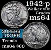1942-p Walking Liberty Half Dollar 50c Grades Choice Unc