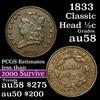 1833 Classic Head half cent 1/2c Grades Choice AU/BU Slider