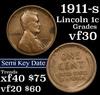 1911-s Lincoln Cent 1c Grades vf++