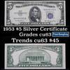 1953 $5 Blue Seal Silver certificate Grades Select CU
